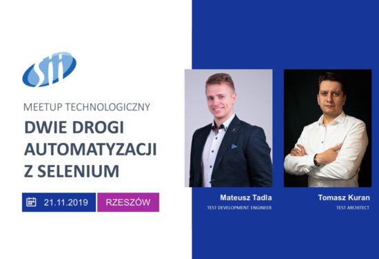 Meetup technologiczny: Dwie drogi automatyzacji z Selenium – 21 listopada 2019